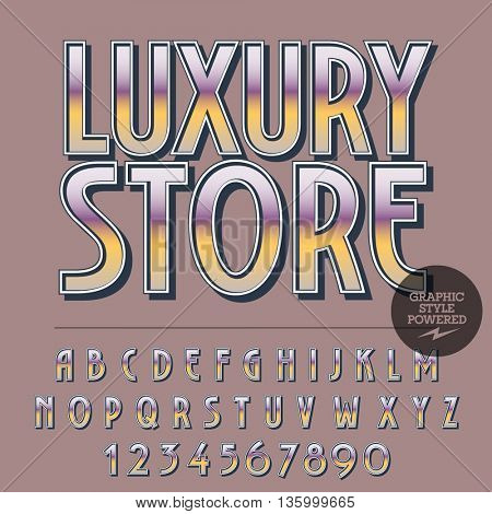 Glossy set of alphabet letters, numbers and punctuation symbols. Reflective vector logotype with text Luxury store