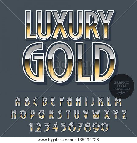 Glossy set of alphabet letters, numbers and punctuation symbols. Reflective vector logotype with text Luxury gold