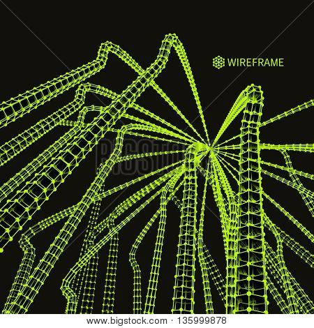 Connection Structure. Wireframe Vector Illustration. Abstract background. Futuristic Technology Style. 3D Perspective Grid.
