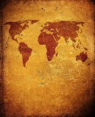 world map on grunge leather background poster