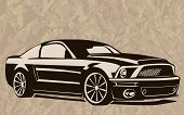 Постер, плакат: Muscle Car Abstract Sketch Old School 1