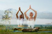 yoga retreat, fitness, sport and lifestyle concept - smiling couple making exercises sitting on mats poster
