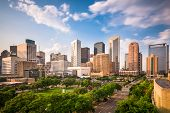 Houston, Texas, USA downtown city park and skyline. poster