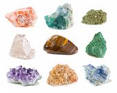 stock photo of pyrite  - A collection of nine different rock minerals - JPG