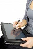 stock photo of tablet pc computer  - Woman hands on graphic tablet PC Isolated on white background - JPG