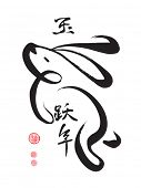pic of rabbit year  - Vector Chinese Calligraphy for the Year of Rabbit - JPG