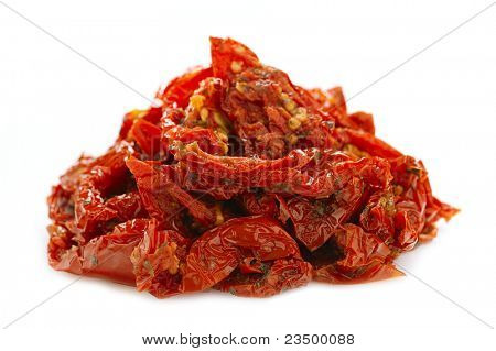 sundried cherry tomatoes on food dehydrator tray, shallow dof