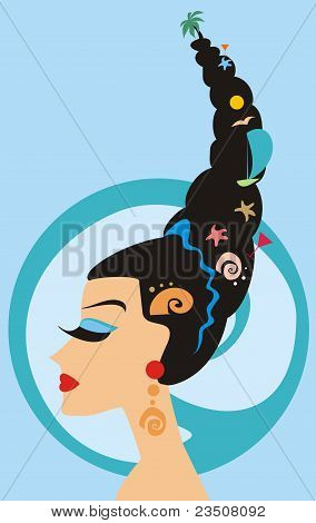 The Girl With A High Coiffure With Marine Elements