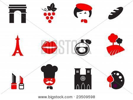 Retro Paris Culture, French Culture & Cuisine  Icons Set - Red, Black.
