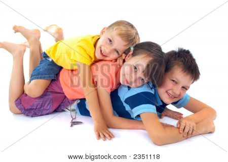 Kids Lying On Each Other