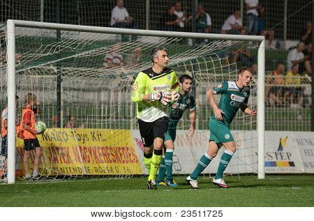 KAPOSVAR, HUNGARY - SEPTEMBER 10: Sasa Stevanovic (goalkeeper) in action at a Hungarian National Championship soccer game - Kaposvar (white) vs Gyor (green) on September 10, 2011 in Kaposvar, Hungary.