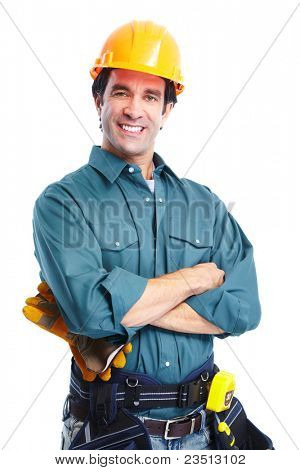 Young handsome contractor  in uniform. Isolated over white background