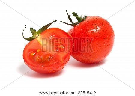 Red Tomato With Leaf