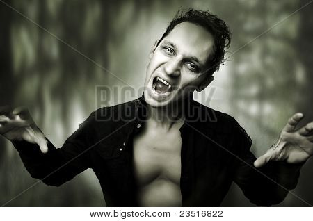 Halloween Horror Concept. Male Vampire