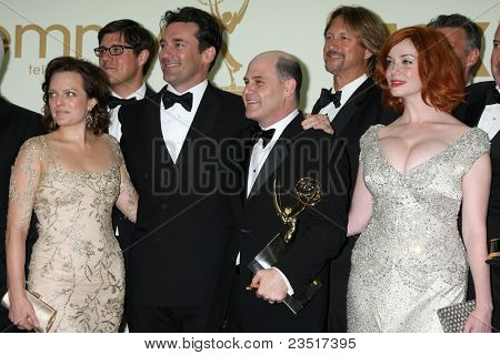 LOS ANGELES - SEP 18:  Elisabeth Moss, Jon Hamm, Matthew Weiner, Christina Hendricks in the Press Room at the 63rd Primetime Emmy Awards at Nokia Theater on September 18, 2011 in Los Angeles, CA