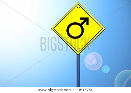 Male Shape On Road Sign