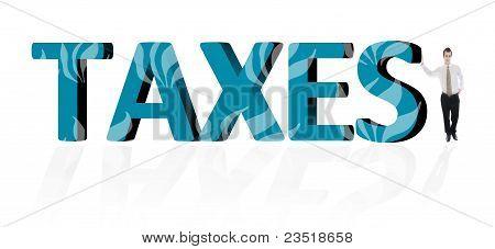 Palavra de impostos e homem de negócios