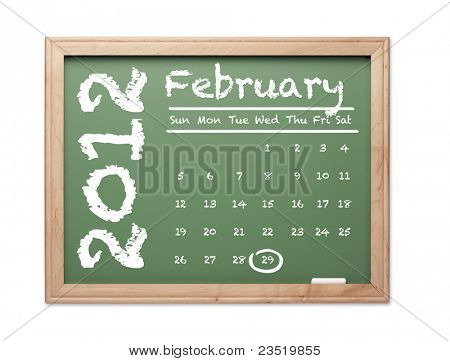 Month of February 2012 Calendar on Green Chalkboard Over White Background.