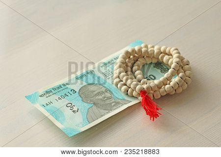 A New Banknote Of India With A Denomination Of 50 Rupees  Indian Currency   Mahatma Gandhi And Rosary poster