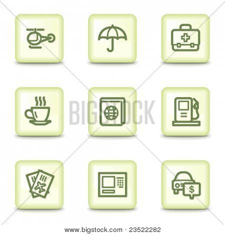 Travel web icons set 4, salad green buttons