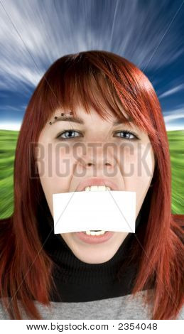 Girl Biting A Blank Greeting Card