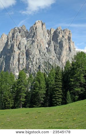 Mountain Landscape Of The Dolomites Of Val Di Fassa