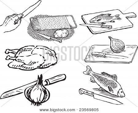 Alimentos en la cocina