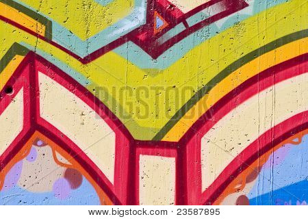 Colorful segment of a graffiti in Spain