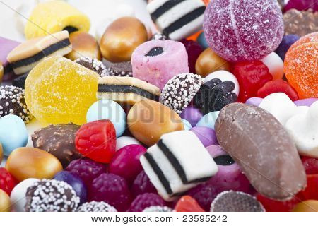 Candy Mountain over white background.