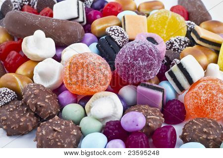 Many candy on white background