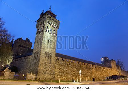 Cardiff  Castle At Night