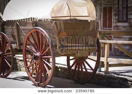 vintage carriage, Wild west traditonal vintage old wagon  detail