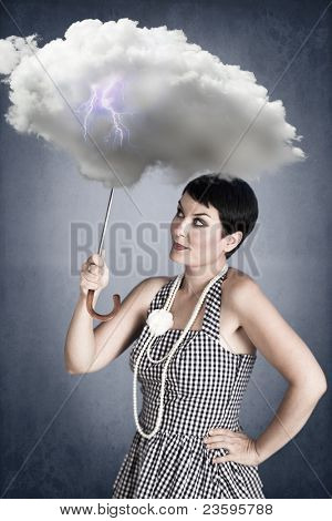 pin-up girl with cloud umbrella under stormy weather