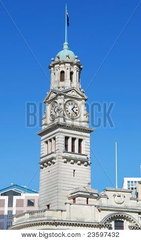 Clock tower of Auckland Town Hall, New Zealand