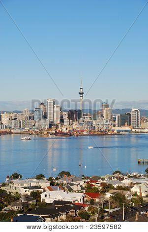 Auckland city skyline in sunrise light