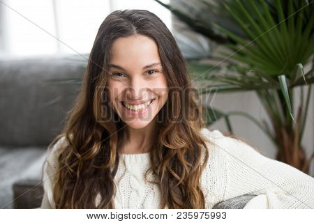 poster of Headshot Portrait Of Mestizo Girl With White Teeth And Wide Toothy Smile, Cheerful Attractive Young