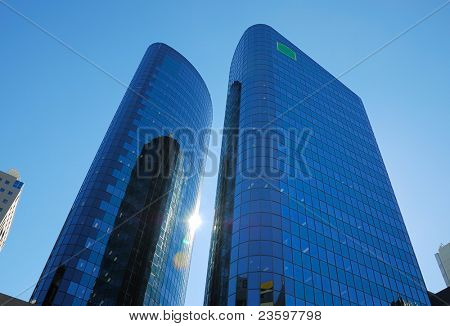 modern building on a background of blue sky