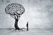 Businessman Looking At Abstract Brain Tree In Concrete Interior. Education, Growth, Brainstorm And S poster