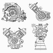 A Set Of Drawings Of Engines - Motor Vehicle Internal Combustion Engine, Motorcycle, Electric Motor  poster