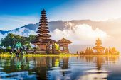 Beautiful Landmark, Pura Ulun Danu Bratan Temple In Bali, Indonesia On Sunrise Pura Ulun Danu Bratan poster