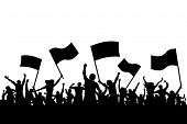 Cheerful Crowd People Silhouette. Crowd Applauding. Demonstration, Protest. Sports Fans With Flags.  poster