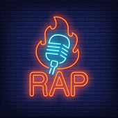 Rap Neon Word And Microphone In Flame Outline. Neon Sign, Night Bright Advertisement, Colorful Signb poster