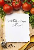 stock photo of recipe card  - fresh vegetables and spices on the wooden background and paper for notes - JPG