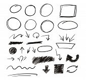 Set Of Hand Drawn Sketch Elements. Strokes, Arrows, Scribble Elements For Business, Advertising, Sch poster