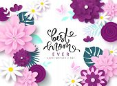 Happy Mothers Day Greeting Card Design With Beautiful Blossom Flowers, Butterflies And Lettering. B poster