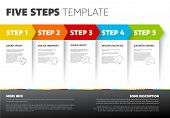One Two Three Four Five - Vector Light Progress Steps Template With Descriptions And Icons poster