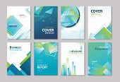 Set Of Blue Cover Annual Report, Brochure, Design Templates. Use For Business Magazine, Flyer, Prese poster