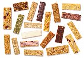 Top View Of Various Healthy Granola Bars (muesli Or Cereal Bar). Set Of Protein Bar Isolated On Whit poster