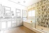 Custom Master Bathroom Design Drawing Gradating to Finished Photo. poster