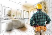 Contractor Facing Custom Master Bathroom Drawing and Photo Gradation. poster